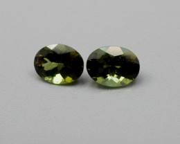 GREEN TOURMALINE SUNSET GREEN OVAL PAIR