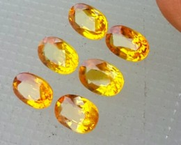 3.75 CTS ALLURING EXTREME FIRE HOT RICH YELLOW SAPPHIRE 6 PCS