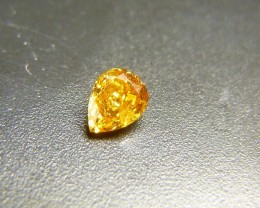 0.12ct  Vivid Orangy Yellow  Diamond , 100% Natural Untreated