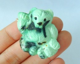 Natural Green Turquoise Carved Bear Pendant,31x26x12mm,67ct(17061908)