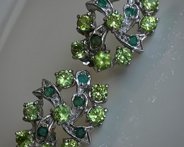 Peridot Emerald Gem Earrings Sterling Silver 14kt White Gold