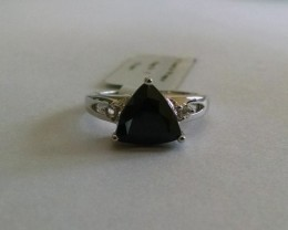 Trillion black spinel sterling silver ring