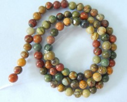 Natural Muti Color Picasso Jasper Round Loose Beads,5x5mm,76ct,41cm In The