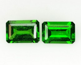 1.22 Cts Natural Forest Green Chrome Diopside 2Pcs Octagon Russia