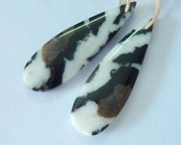 Natural White Zebra Jasper Teardrop Earrings,38x12x4mm,30ct(17062016)