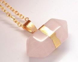 Rose Quartz Doulbe Pointed Point Necklace