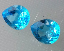 10.25 CTS DAZZLING NATURAL ULTRA RARE SWISS BLUE TOPAZ PEAR CUT BRAZIL 2 PC