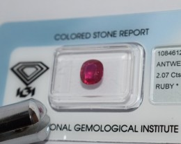 IGI Certified - 2.07Cts -  - Natural Ruby