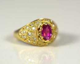 Ring with Rare Tajik Ruby 1.28 ct, Diamond 0.55 ct, Gold 750 -18 ct - GIA