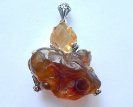 New,Citrine,Fire Agate Intarsia Pendant,Sterling 925 Silver Necklace Pendan