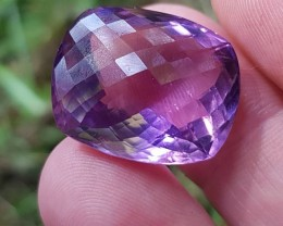 27ct 21mm Custom Cut Amethyst  cushion checker cut 21 by 17 by 11mm