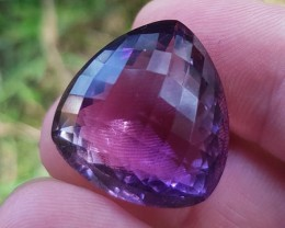 35CT Amethyst trillion checker cut gemstone
