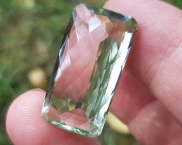27ct 26mm Prasiolite Prasiolite oblong checker cut stone 26 by 14 by 9.