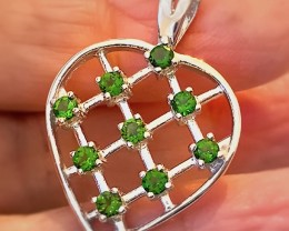 'My Heart' Sparkling Chrome Diopside Sterling Silver Pendant No reserve