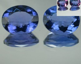 8.24 Cts Natural Color Change Fluorite Oval Cut 2 Pcs Brazil Gem