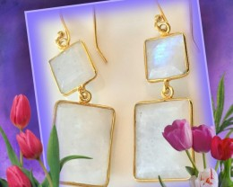 Moonstone Gem Earrings Sterling Silver 14kt Gold