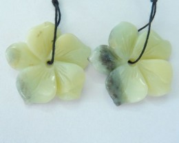 Carved Flower Earrings Natural Amazonite Flower earrings For Women,28x4mm,4