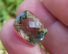 11.65ct 15mm Prasiolite Prasiolite cushion checker cut stone