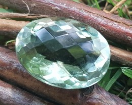 20.5ct 20mm Prasiolite Prasiolite oval checker cut stone 20 by 15 by 11