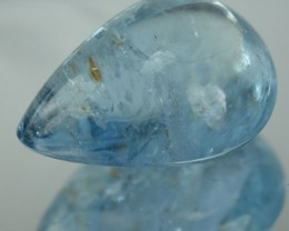 5.82 Cts Natural Blue Aquamarine Pear Cabochon Brazil Gem