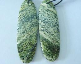 Natural Green Zebra Jasper Oval Earrings For Women,46x14x4mm,43.5ct(1706241