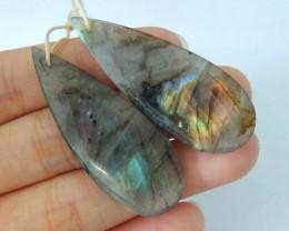 Natural Labradorite Teardrop Earrings,45x17x5mm,59.5ct(17062504)