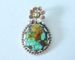 Sterling 925 Silver Turquoise Pendant Bead,30x20x4mm,26ct(17062509)