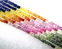 200CTS MULTI COLOR SAPPHIRE BEADS 7STRANDS PG-2219
