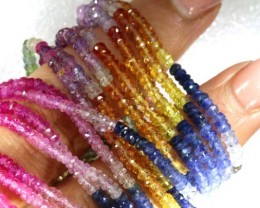 266CTS MULTI COLOR SAPPHIRE BEADS 7STRANDS PG-2220