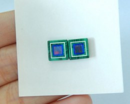 Natural Semiprecious Opal And Malachite Intarsia Cabochon Pairs,8x2mm,5.5ct