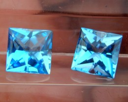5.80cts, Electric Blue Topaz, Concave Cut,  VVS1, Calibrated