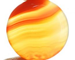 Genuine 31.00 Cts Orange Onyx Round Shape Cab