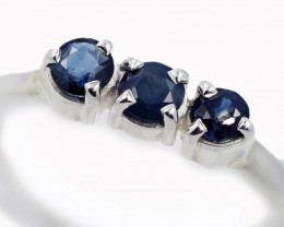 SIZE 9 BLUE AUSTRALIAN SAPPHIRES SET IN SILVER RING [SJ4507]