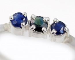 SIZE 9 BLUE AUSTRALIAN SAPPHIRES SET IN SILVER RING [SJ4508]