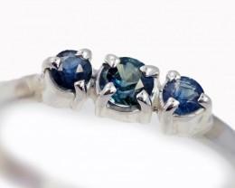SIZE 9 BLUE AUSTRALIAN SAPPHIRES SET IN SILVER RING [SJ4510]