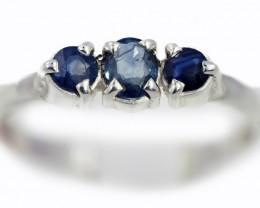 SIZE 8 BLUE AUSTRALIAN SAPPHIRES SET IN SILVER RING [SJ4519]