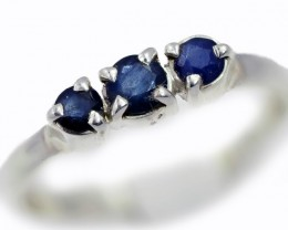 SIZE 8 BLUE AUSTRALIAN SAPPHIRES SET IN SILVER RING [SJ4520]5