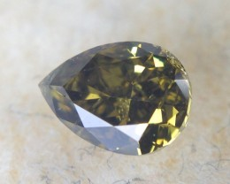 0.35 ct Diamond - Fancy Olive Green Pear Cut SI1