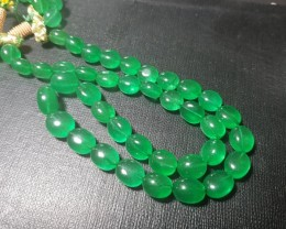 "17"" line 10 to 14mm Green Beryl VIDEO LINK tumble beads joban infused"