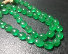 "20"" line 10 to 14mm Green Beryl tumble beads joban infused"