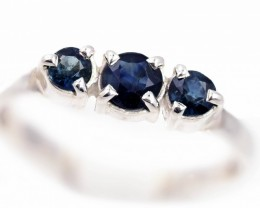 SIZE 8 BLUE AUSTRALIAN SAPPHIRES SET IN SILVER RING [SJ4531]