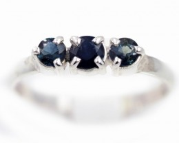 SIZE 8 BLUE AUSTRALIAN SAPPHIRES SET IN SILVER RING [SJ4532]