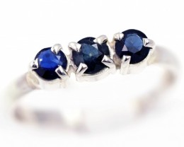 SIZE 8 BLUE AUSTRALIAN SAPPHIRES SET IN SILVER RING [SJ4533]