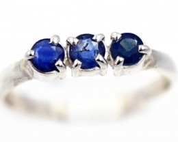 SIZE 8 BLUE AUSTRALIAN SAPPHIRES SET IN SILVER RING [SJ4534]