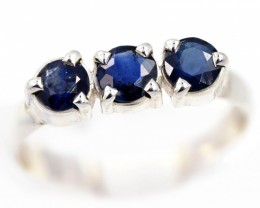 SIZE 8 BLUE AUSTRALIAN SAPPHIRES SET IN SILVER RING [SJ4535]