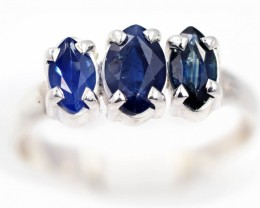 SIZE 8 BLUE AUSTRALIAN SAPPHIRES SET IN SILVER RING [SJ4536]