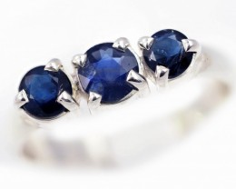 SIZE 8 BLUE AUSTRALIAN SAPPHIRES SET IN SILVER RING [SJ4537]