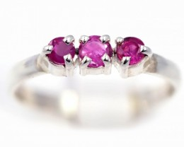 SIZE 7 PINK  AUSTRALIAN SAPPHIRES SET IN SILVER RING [SJ4538]