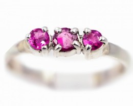 SIZE 7 PINK  AUSTRALIAN SAPPHIRES SET IN SILVER RING [SJ4539]