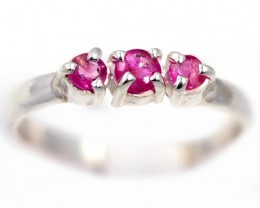 SIZE 7 PINK  AUSTRALIAN SAPPHIRES SET IN SILVER RING [SJ4541]